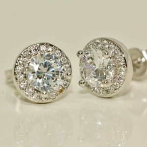18k Gold Dipped Perfect Size Halo Earrings Studs